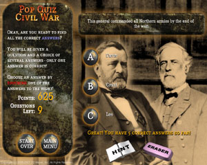 Civil War Touch Screen Quiz Game